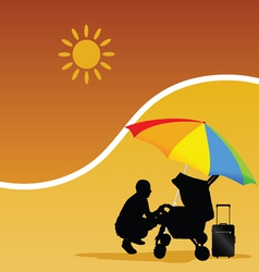 man and baby on the beach vector image