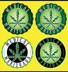 Medical Cannabis Green leaf Design Stamps vector image vector image