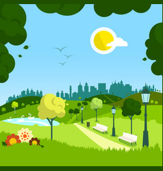 nature empty landscape with city on background vector image