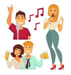 People entertaining in karaoke bar isolated on vector