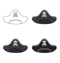 Pirate hat icon in cartoon style isolated on white vector