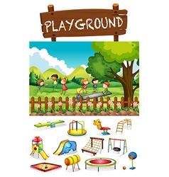 Playground scene with children and toys vector