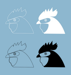 Rooster head the black and white color icon vector