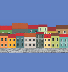 street and city houses vector image