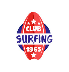 surfing club logo estd 1965 retro badge for surf vector image vector image