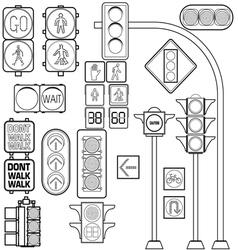 Traffic light outline vector image vector image