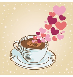 Tasty coffee cup greeting card vector image