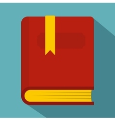 Thick book with bookmark icon flat style vector