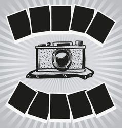Camera and photos vector