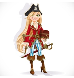 Cute blond pirate girl with cutlass vector