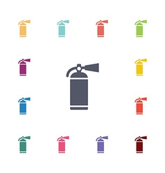 Fire extinguisher flat icons set vector