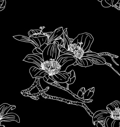 seamless wallpaper with orchid flowers vector image