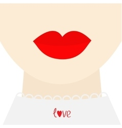 Fashion woman face with big thick red lips neck vector