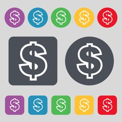 Dollar icon sign a set of 12 colored buttons flat vector