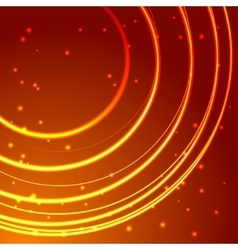Gold glowing circle frame with sparkles vector image