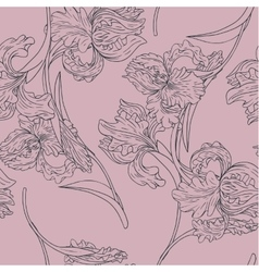 Vintage seamless pattern with iris flowers vector