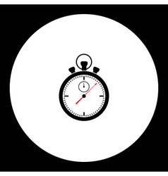 black isolated stopwatch case and dials with hands vector image