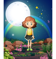 A girl standing outdoor under the bright fullmoon vector