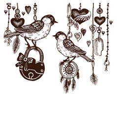 Birds with padlock in vintage style hearts vector