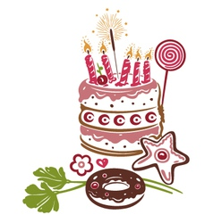 Birthday cake pie vector