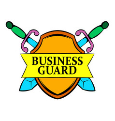 Business guard icon cartoon vector