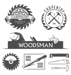 Carpentry and woodwork design elements in vintage vector image vector image