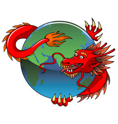 chinese dragon entwining earth vector image vector image