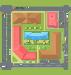 Cityscape top view - modern colorful vector