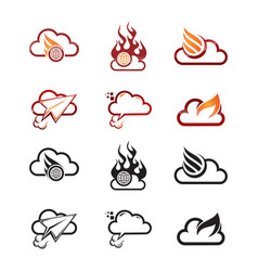 cloud fire logo vector image
