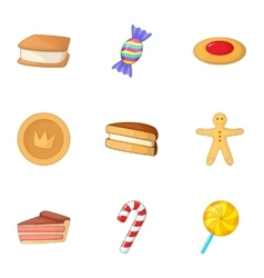 Confectionery icons set cartoon style vector