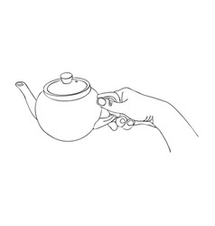cooking hand with teapot vector image vector image