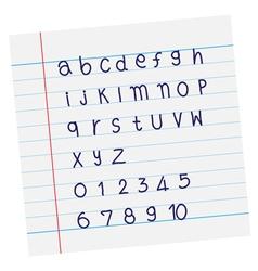 Designer sketched alphabet in blue ink on paper vector