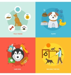 Dog icons flat set vector