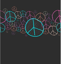 Doodle peace symbol seamless pattern background vector