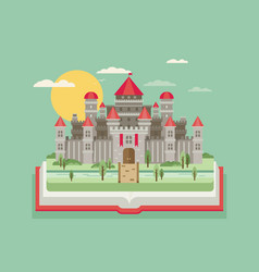 Fairy-tale castle flat vector