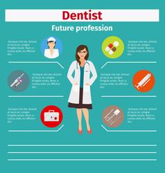 Future profession dentist infographic vector