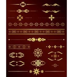 Gold vintage elements for design - set vector