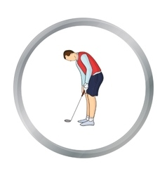Golfer before kick icon in cartoon style isolated vector