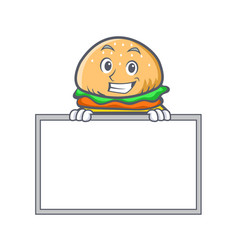 Grinning burger character fast food with board vector