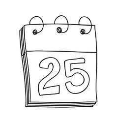 Hand drawing of calendar day twenty five vector