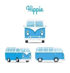 Hippie vintage blue mini van vector