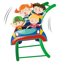 kids riding on roller coster vector image