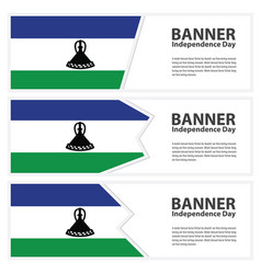 Lesotho flag banners collection independence day vector