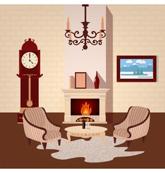 Living room interior with vintage chandelier vector