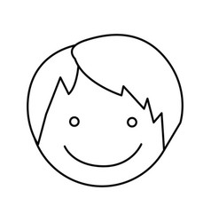 Monochrome silhouette with boy face vector