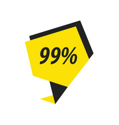 Ninety nine percent label black yellow vector