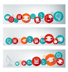 Set of education banners with icons vector image vector image