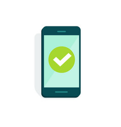 smartphone with checkmark on display vector image vector image