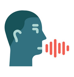 Speech recognition flat icon voice control vector