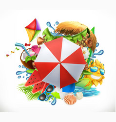 Summer holiday set 3d icon vector